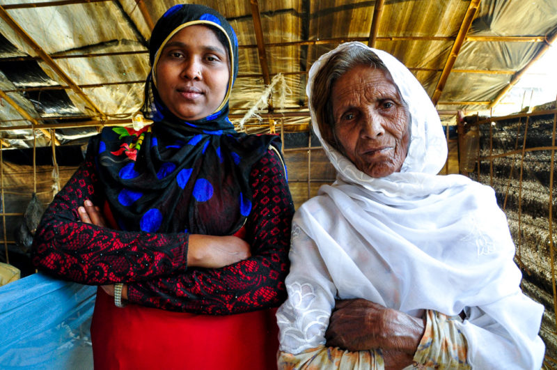 Areafa and her grandmother Sonomaher, Rohingya refugees camping in Bangladesh