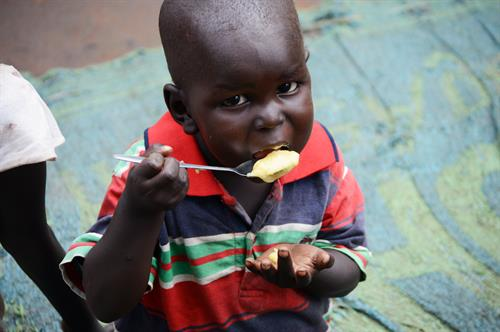 Monyjok, a little boy from South Sudan who receives emergency supplements from the World Food Program