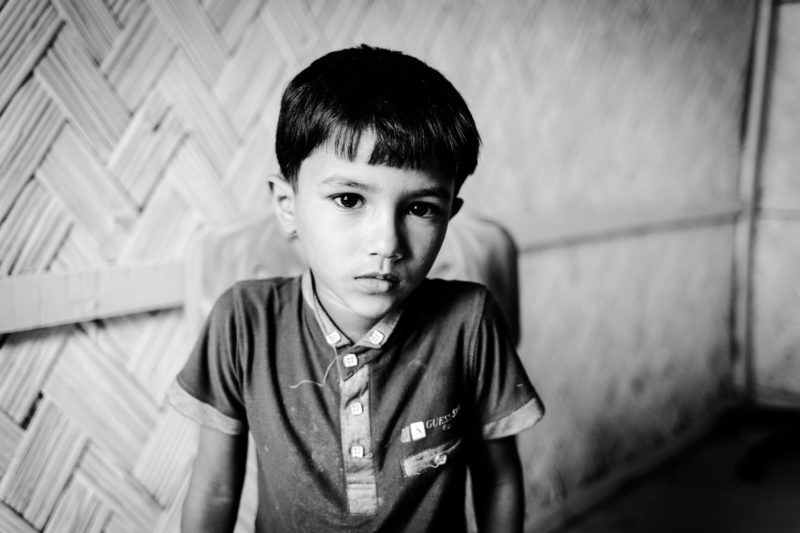 Saifullah, a 5-year-old boy living in a refugee camp in Bangladesh