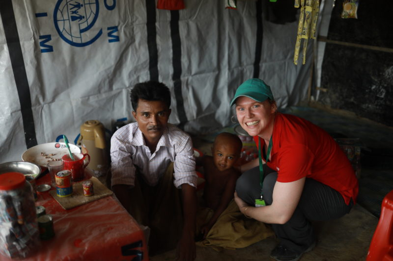 Abdur and Sarah in Abdur's home in a refugee camp in Bangladesh.