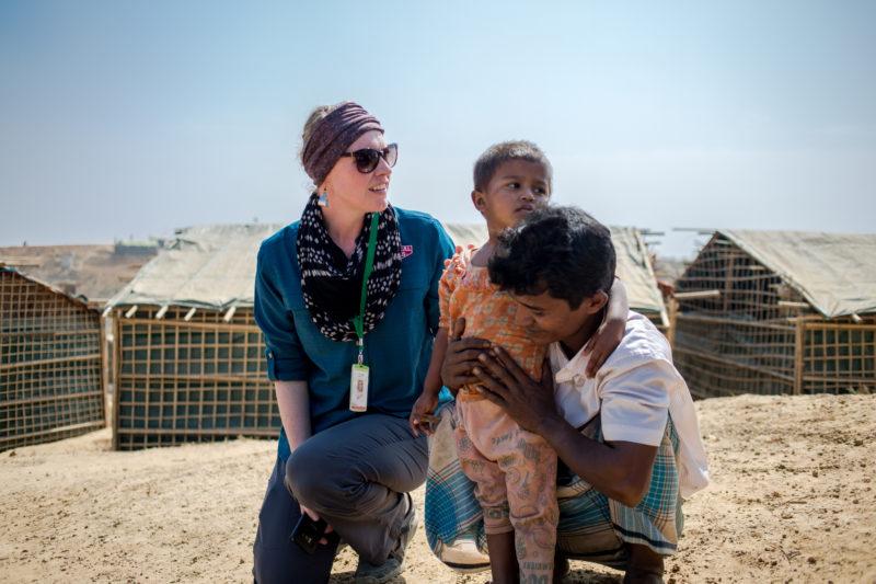 Sarah with Abur and his daughter, both Muslim Bangladesh refugees