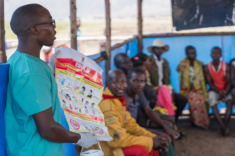 A health education session on the symptoms of Ebola lead by a Medical Team staff member