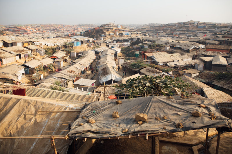 An overcrowded Rohingya refugee camp on the coast of Bangladesh that has spread across the deforested landscape