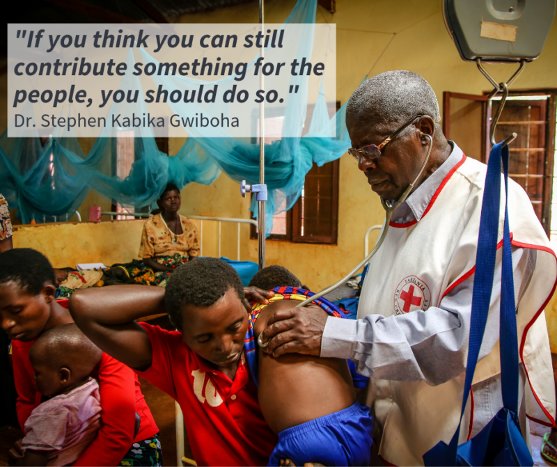 •Dr. Stephen Kabika Gwiboha listening to the lungs of a boy suffering from malaria and pneumonia in a Tanzanian refugee camp