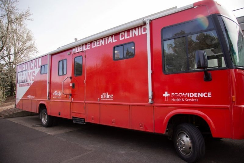 A Mobile Dental Van sitting on site for a Mobile Dental Clinic