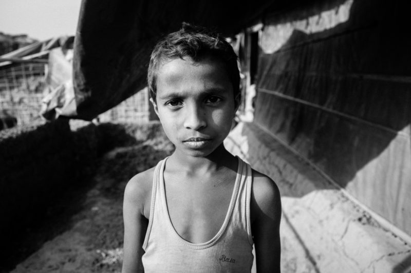 Harun, a Rohingya Refugee, near his new home in the Kutupalong Refugee Camp in 2018