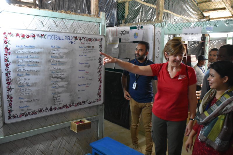 Martha talking with a Rohingya refugee at a Medical Teams Clinic