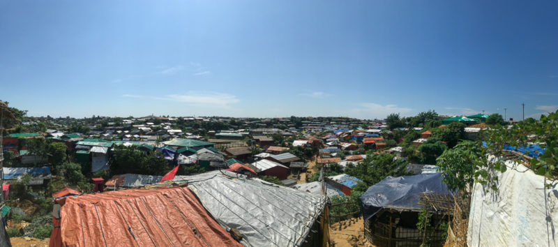 The roofs top view of the Rohingya refugee camp