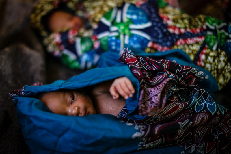 Twin refugee babies born in a Medical Teams clinic in Tanzania