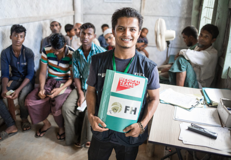 Redwan, work hard at the Medical Teams Clinic in the Rohingya refugee camp