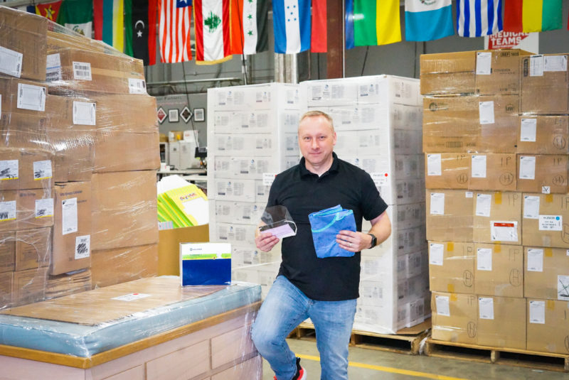 Our HQ staff member Jason helps prepare PPE for shipment to hospitals in the Pacific Northwest