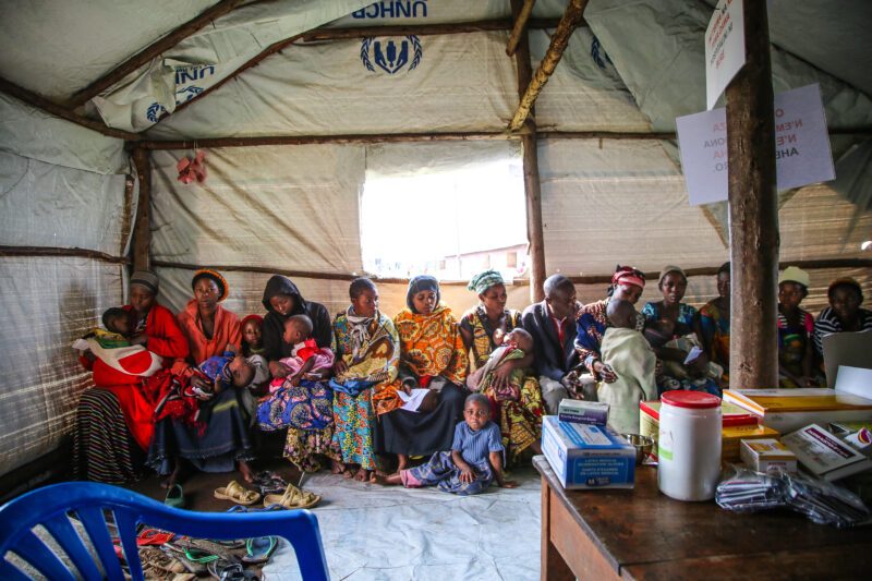 DRC Refugees. Inside a Medical Teams clinic in Uganda.