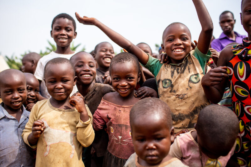 A group of children play outside in Kyangwali, Uganda.