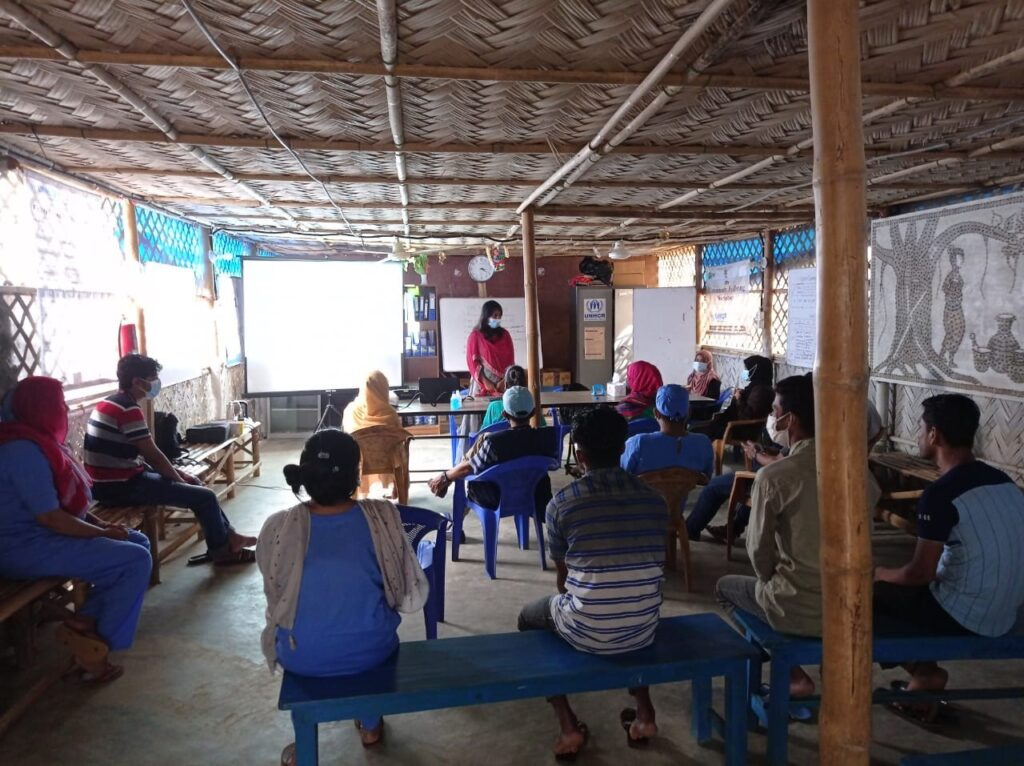 A group counseling session in Kutupalong, Bangladesh.
